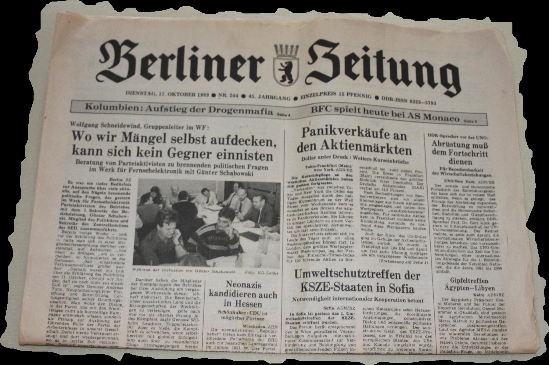 berliner zeitung 1989